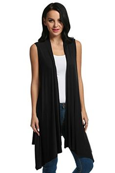 Women's Sweater Vests - Meaneor Womens Sleeveless Asymetric Hem Open Front Drape Cardigan Sweater Vest -- Learn more by visiting the image link.