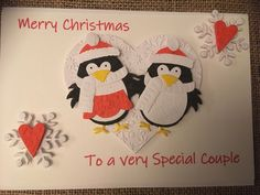 Christmas Card - Penguins Special Couple hearts handmade handcrafted snowflakes handmade paper by ASCraftyCreaters on Etsy Christmas Couple, Christmas Cards, Merry Christmas, Penguins, Snowflakes, Hearts, Paper, Unique Jewelry, Handmade Gifts