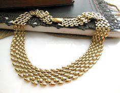 Vintage Yellow Gold Tone Wide Panther Link Choker by erisjewels