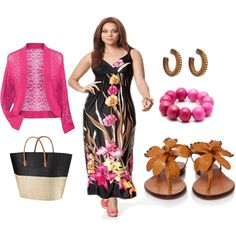 Plus size summer outfit in black, tan and fuschia, created by apasionatalina on Polyvore