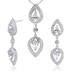 Cubic Zirconia Pendant Earrings Necklace Sterling Silver Rhodium Nickel Finish Pear Shape 375 Carats * Click on the image for additional details.(This is an Amazon affiliate link and I receive a commission for the sales)