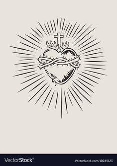 Sacred Heart of Jesus, illustration art vector design Tatoo Heart, Sacred Heart Tattoos, Jesus Tattoo, Catholic Art, Religious Art, Santas Tattoo, Sagrado Corazon Tattoo, Vector Design, Vector Art
