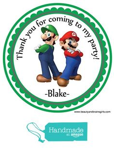 Super Mario Bros. Brother Super Mario Custom Personalized Stickers Birthday Party Favors - Treat Tag Toppers- 24 Stickers Popular Size 2.5 Inches. Peel and Stick Backing from Custom Party Favors, Handmade Craft , and Educational Products https://www.amazon.com/dp/B01E67GJG6/ref=hnd_sw_r_pi_dp_pCrOxbCJ4HHA2 #handmadeatamazon