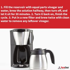 Clean your coffee pot every month to make sure your morning cup of joe tastes great! Hard water residue and built up coffee grounds can ruin the taste. cleaning tip House Cleaning Tips, Cleaning Hacks, Coffee Pot Cleaning, Hard Water, Drip Coffee Maker, Ruin, Clean House, Brewing, It Is Finished