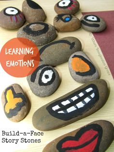 Build-a-Face Story Stones for Teaching Emotions to Kids! A fun learning activity. Draw a circle on colored paper and have kids make the face with the stones!