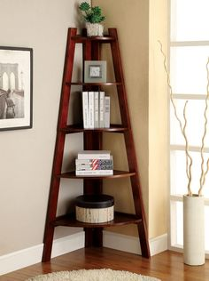 Snuggle this Furniture of America Merill Ladder Shelf into any corner to maximize space and create visual drama. This handsome ladder shelf. Small Living Rooms, Living Room Decor, Dining Room, Dining Area, Kitchen Dining, Home Furniture, Furniture Design, Shelf Furniture, Corner Furniture