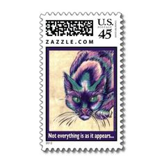 Purple Cat Postage stamp, by GG Burns