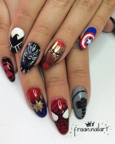 Avengers nail art is just one way fans are showing their dedication to their favourite heroes and villains from the Marvel Cinematic Universe (MCU) — Avengers Nails, Marvel Nails, Funky Nail Art, Cool Nail Art, Cute Nails, Pretty Nails, Superhero Nails, Minion Nails, Owl Nails