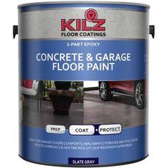 KILZ Epoxy Acrylic Interior/Exterior Concrete and Garage Floor Paint, Satin, Slate Gray, 1 Gallon, 4 l Best Concrete Paint, Painted Concrete Floors, Concrete Color, Painting Concrete, Stained Concrete, Painted Garage Floors, Concrete Sealer, Concrete Basement Floors, Best Garage Floor Paint
