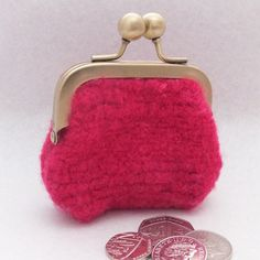 Small Coin Purse - Pink/Red Woven by FlocksandBlocks on Etsy