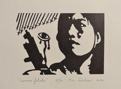 """""""Larmes fatales"""", linogravure réalisée par Eric Schelstraete en 20 exemplaires, 2017. Format 25 x 32,5 cm. Femme soldat. Guerre du vietnam"""