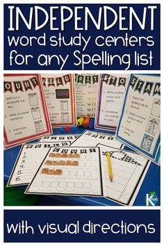 Looking for INDEPENDENT spelling activities for ANY spelling list? These word study center activities and task cards will supplement. Spelling Word Activities, Spelling Centers, Word Study Activities, Word Work Centers, Grade Spelling, Spelling Lists, Spelling Words, Literacy Centers, Writing Centers