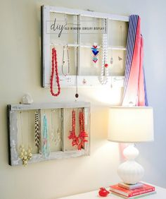 jewelry display from old windows