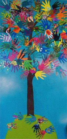 Hand tree collaborative art. Every child is unique!  Materials Needed:  hands to trace!   thick card stock   acrylic paint   brushes   Mod Podge   pre-painted (acrylic) background of a tree on a pre-stretched canvas or a wood board