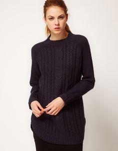Vila Exclusive Cable Knit Grandad Sweater