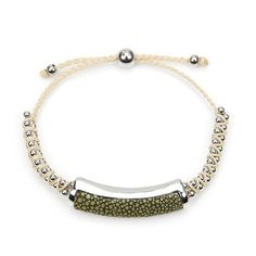 Shagreen Silver and Ivory Friendship Bracelet - Moss Main Image