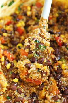 ~~Healthy Comfort Food ~ Easy Black Bean and Quinoa Enchilada Bake Recipe | twopeasandtheirpod.com~~