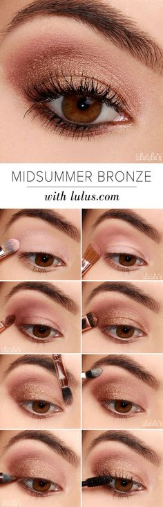 Recreate this lovely bronze look by starting with a matte shade of brown and working it throughout the outer crease and blending outwards. Keep adding colour until you get the intensity you want, and then adding a bronze glitter, pat over the top from the outer corner to the centre of the eyelid. Use mascara to end the look perfectly.