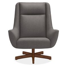 Charles Swivel Chair & Ottoman with Wood Base - Modern Accent & Lounge Chairs - Modern Living Room Furniture - Room & Board