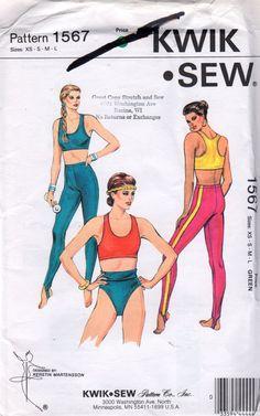 Kwik Sew 1567 1980s Misses Racer Back Sports Bra Trunks  Tights  Pattern Womens Vintage Uncut Sewing Pattern Size XS - LG  Bust 31 - 41 1/2 on Etsy, $18.00