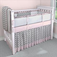 Chevron with Pink and Gray Custom 4-piece Crib Bedding Set | Chevron with Pink and Gray Nursery Idea | Carousel Designs
