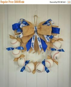 Check out this item in my Etsy shop https://www.etsy.com/listing/287804627/la-dodgers-inspired-baseball-wreath