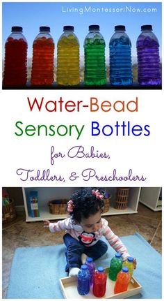 I love that sensory bottles are very adaptable for babies through preschoolers. Here's a simple tutorial for making water-bead sensory bottles in a rainbow of colors.
