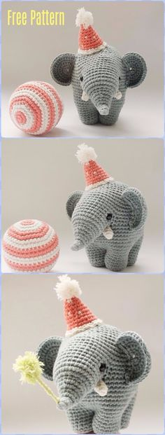 Crochet Elephant with Hat and Ball Free Pattern - Crochet Elephant Free Patterns