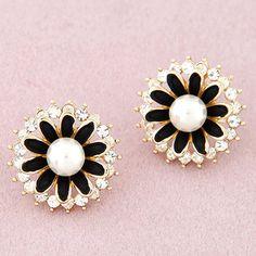 Little Black Diamond Decorated Flower Design Alloy Stud Earrings  www.asujewelry.com