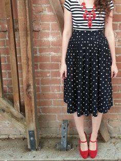 polka dots, stripes, pattern mixing, mary jane heels