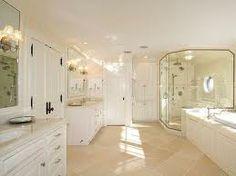 light and bright bathroom- love the round window in shower. Big Shower, Small Bathroom With Shower, Window In Shower, Dream Bathrooms, White Bathroom, Beautiful Bathrooms, Bathroom Ideas, Neutral Bathroom, Luxury Bathrooms