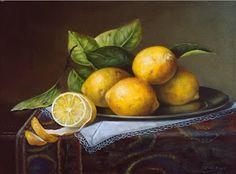 sliced peeled lemons on pewter plate oriental rug classical oil painting fruit, painting by artist JEANNE ILLENYE