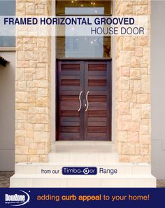 What an entrance! This Framed Horizontal Grooved pair house door manufactured by DoorZone®. www.doorzonesa.com Sectional Garage Doors, House Doors, Curb Appeal, Entrance, Frame, Outdoor Decor, Design, Home Decor, Style