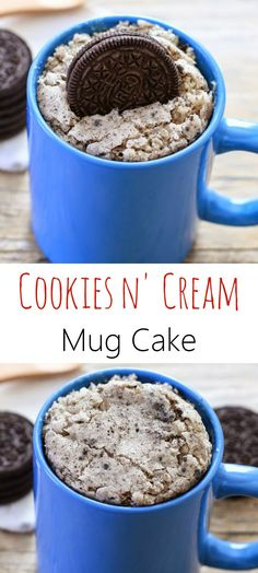 Cookies and Cream Mug Cake. Love mugcakes, they're the perfect serving size for 1 person ( or 2;) )