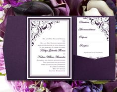 DIY Pocketfold Wedding Invitations Gianna Eggplant