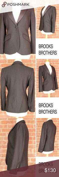 """Tuxedo Career Satin Black Wool Cocktail Jacket 213 BROOKS BROTHERS Tuxedo Satin Collar Fit Black Wool Button 346 Lined Blazer Jacket  Retails: $780 Size: 2 Armpit to Armpit: 18"""" Shoulder: 16"""" Sleeves: 23.25"""" Length: 24.5"""" Material: 100% Wool Condition: MINT - Excellent Condition - Smoke and pet free environment PWT: 1.05 CSKU: 213 All measurements are approximate and taken laying flat. Brooks Brothers Jackets & Coats Blazers"""