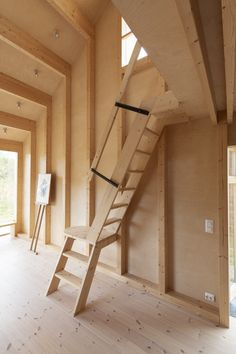 Photo 9 of 17 in A Stepped Roof Primes This Cozy Norwegian Cabin for Next-Level Fun - Dwell Staircase Handrail, Wood Railing, Modern Staircase, Stairs, Wooden Hut, Wooden Cabins, Warehouse Living, Ski Jumping, Timber Cladding
