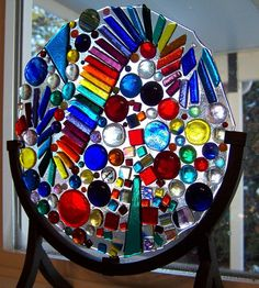 Handmade Fused Glass Art -Glass Bubbles this is mine, with the exact frame that I would be using. Art Of Glass, Fused Glass Art, Stained Glass Art, Mosaic Art, Mosaic Glass, Glass Fusion Ideas, Murano, Objet D'art, Glass Design