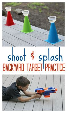 Shoot & Splash Backyard Target Practice Set up a shoot and splash target practice in the backyard. Perfect summer activity for kids! Outside Activities For Kids, Summer Activities For Kids, Outdoor Games For Kids, Water Play Activities, Backyard Games Kids, Indoor Kid Activities, Backyard Ideas For Kids, Outdoor Water Games, Summer Games