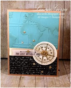 A La Cards: Monday Mayhem! - Masculine card featuring the new Going Global stamp set, World Traveler TIEF and Going Places DSP Stack (all available starting January 5th in the Occasions Catalogue!)