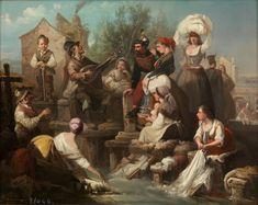 Rodríguez de Guzmán, Manuel - 1859 - Lavanderas del Manzanares - Óleo sobre lienzo - 46 x 56 cm - Colección - Museo Nacional del Prado