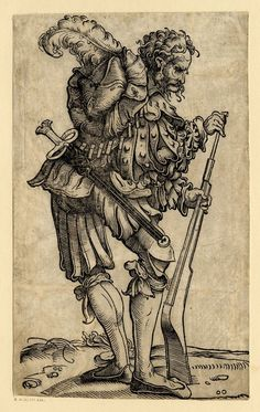 1525-1530 (Circa)     Attributed to: Hans Burgkmair the Elder.     Published by: David de Negker.     Block cut by: Jost de Negker.   A landsknecht cleaning the barrel of his fire-arm; WL figure, turned to r; from a series of fifty lansquenets.  Woodcut