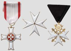 Cross pro Merito Melitensi, a Cross of Profession of a Knight of Justice and a Cross of a Donate 3rd Class. #OrderofMalta #SMOM