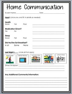 This is a FREE Home/School Communication Log that I created for a teacher, which is ideal for a special education classroom. It has room for a lot of information, however it can be edited/changed to include less or other information as needed.