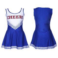 VARSITY COLLEGE SPORTS CHEERLEADER HIGH SCHOOL GIRL MUSICAL UNIFORM FANCY DRESS COSTUME OUTFIT W/ POM POMS uk 4 6 8 10 12 14 16 18: Amazon.c...