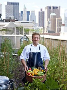 Head chef Anthony Paris on the rooftop at the Crosby Street hotel