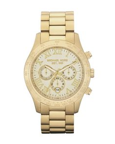 Michael Kors Stainless Steel Chronograph Layton Watch, Golden. $250