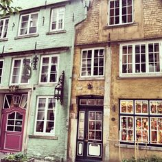 Very cute houses/stores in the famous Schnoor quarter in Bremen/Germany.