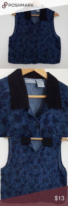 """Floral Denim and Black Velvet Cropped Vest Unique floral patterned medium dark wash indigo denim cropped vest with a black velvety collar. 20"""" long. Size medium. Jackets & Coats Vests"""