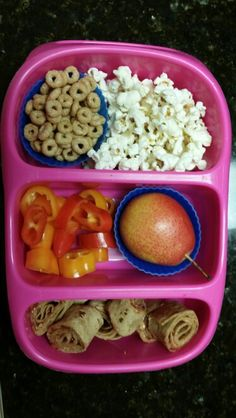 PB&J roll-up on whole wheat wrap, Forelle pear, sweet peppers, pop corn, and apple cinnamon cheerios